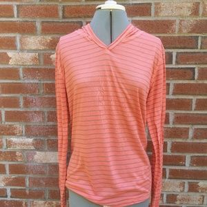 Threads 4 Thought Small Peach Striped Hoodie Knit